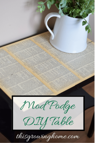 Book Page Art Mod Podge table