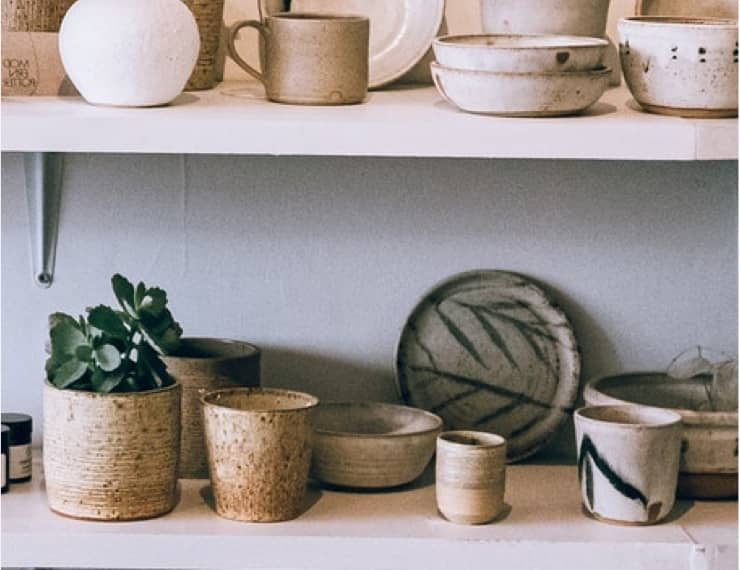 Shelves of ceramic kitchenware